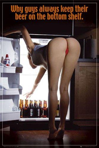 Beer - Bottom Shelf - Akt Poster Erotik Poster nackte hot Girls schöne Frauen Bier Grösse 61x91,5 cm