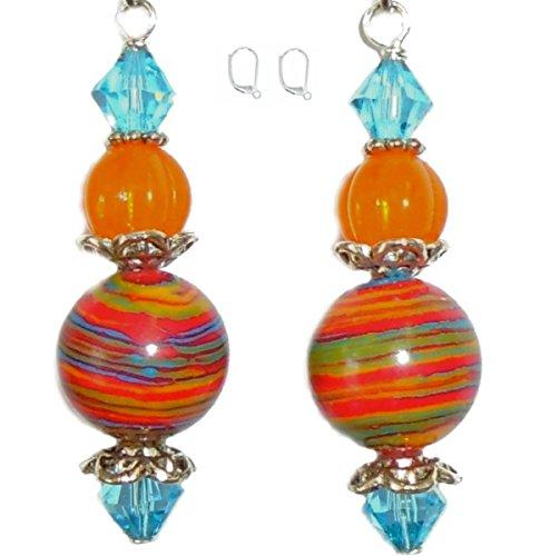 Multicolor Striped Turkey Turquoise, Light Aqua Blue Swarovski & Orange Tangerine Czech Glass Bead Silver Plated Earring Set (2. LEVER BACKS Nickel Free Hypoallergenic)