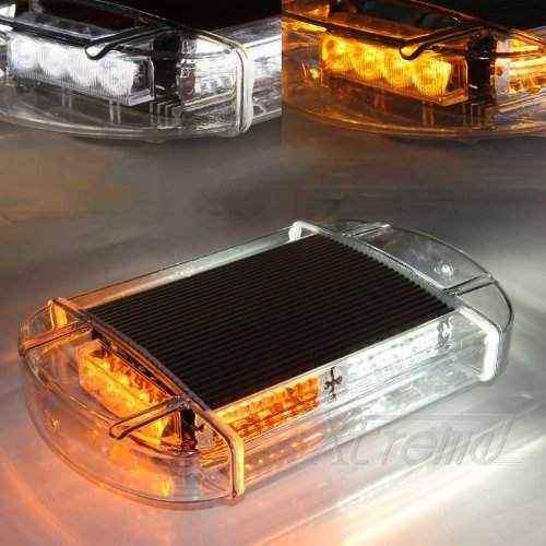 Xtreme® White & Yellow 40 Led High Intensity Law Enforcement Emergency Hazard Warning Flashing Car Truck Construction Led Top Roof Mini Bar Strobe Light With Magnetic Base