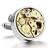 JBlue Jewelry mens Vintage Steampunk Cufflinks Functioning Works Watch Movements in Working Condition (with Gift Bag)