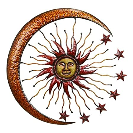 Deco 79 42770 Metal Sun Moon Wall Decor, 36