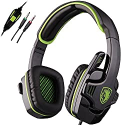 SADES SA-708 Over-Ear Headphone Stereo Gaming Headset with Mic - Green/Black