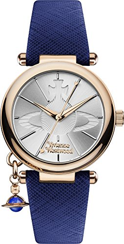 Vivienne Westwood ORB Pop Women's Quartz Watch with Silver Dial Analogue Display and Blue Leather Strap VV006RSBL