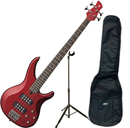 Yamaha TRBX304 CAR TRBX-304 Candy Apple Red 4 String Bass Guitar w/ Gig Bag and Stand