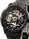 Alienwork IK Automatikuhr Automatik Armbanduhr Skelett mechanische Uhr Edelstahl schwarz schwarz 98226G-A 98226G-A