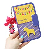 ( UN ANANAS ) 馬 タッセル 水玉 リボン ボタン カード入れ 手帳 iPhone6S iPhone5S カバー 携帯 ケース 女性(ブルーiPhone6S)