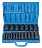 "Grey Pneumatic Corp 1319D 1/2"" Drive Deep Length Fractional Master Set – 19 Piece 
