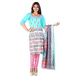 RangoliSF Woman's Cotton Unstitched Dress Material (RSFT1002 Blue)
