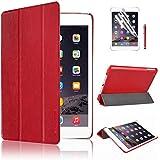 Swees® Ultra Slim Apple iPad Mini Étui Housse en Cuir Coque Smart Cover Case pour Apple iPad Mini 1/2/3 avec Stand de positionnement support et le sort de veille + film de protection d'écran et Stylet (Rouge)