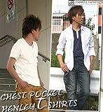 (ジョンブル)JOHNBULL 綿レーヨン天竺ピンバッヂ2個付きチェストポケットヘンリーネック半袖Tシャツ(メンズ)