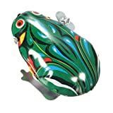Vintage Metal Wind-up Jumping Frog Clockwork Tin Toys Classic Gift