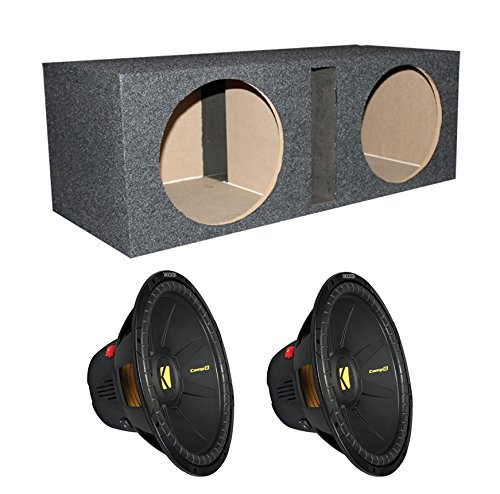 "2)New Kicker 40Cwd154 15"" 2400W 4 Ohm Power Car Subwoofers + Dual Vented Sub Box"