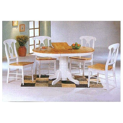 5pc White & Natural Oval Dining Table & Napoleon Solid Wood Chairs Set