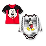 Disney Mickey Mouse Baby Bodysuit and Tee Shirt Set Baby Boys' 0-3 Months