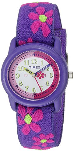 Timex Kids' T89022 'Time Teacher' Floral Elastic Strap Watch
