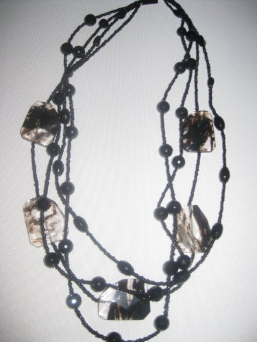 Handmade Black Natural Stone 4 Strand, 30