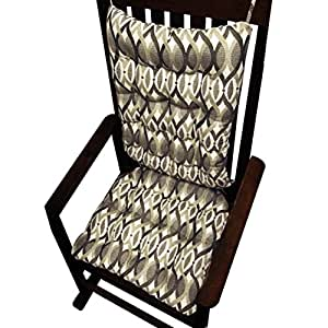 Rocking Chair Cushions Art Nouveau Ogee Grey Neutral Reversib