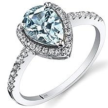 buy 14K White Gold Aquamarine Open Halo Ring Pear Shape 1.00 Carats Size 8