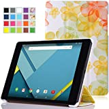 Google Nexus 9 Case - MoKo Ultra Slim Lightweight Smart-shell Stand Cover Case for Google Nexus 9 8.9 inch Volantis Flounder Android 5.0 Lollipop tablet by HTC, Floral GREEN