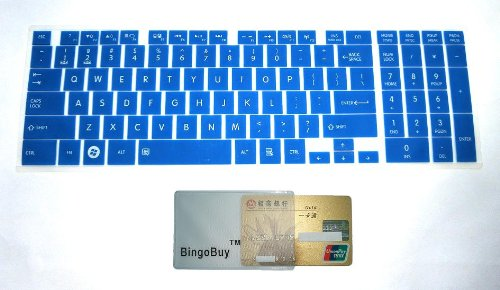 """Bingobuy® Semi-Blue Ultra Thin Silicone Keyboard Protector Skin Cover For Toshiba Satellite C50-A, C50D-A, C50T-A, C55-A, C55D-A, C55T-A, C55Dt-A, C70-A, C70D-A, C75-A, C75D-A, C875, C875D Seires(If Your """"Enter"""" Key Looks Like """"7"""", Our Skin Can'T Fit) Wit"""