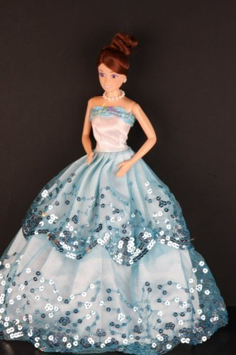 Blue Ball Gown with Light Blue Sequined Lace Details Made to Fit Barbie Doll - 1
