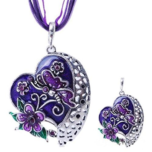 HARMERSTORE Womens Love Heart Flower Butterfly