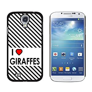 Graphics and More I Love Heart Giraffes Snap-On Hard Protective Case for Samsung Galaxy S4 - Non-Retail Packaging - Black