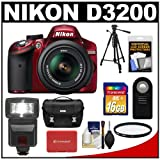 Nikon D3200 Digital SLR Camera & 18-55mm G VR DX AF-S Zoom Lens (Red) with 16GB Card + Flash + Case + Filter + Remote + Tripod + Accessory Kit