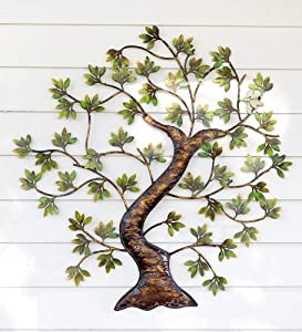 Amazoncom Metal Twisted Tree With Green Foliage IndoorOutdoor Wall