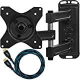 """Cheetah Mounts ALAMB Articulating Arm TV and LCD Monitor Wall Mount, for 12 to 24"""" Displays up to 40 Lbs, Includes a Twisted Veins 10 Foot HDMI cable"""