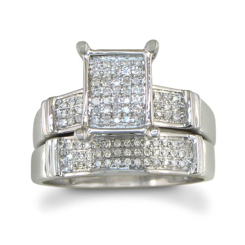 1/3ct Diamond Micropave Bridal Engagement Ring Set in Sterling Silver