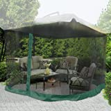 9x9 Ft Square Gazebo Durable Mosquito Netting in Green
