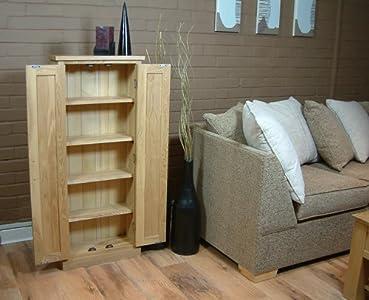 Tall Dvd Cd Storage Cupboard Mobel Solid Premier Oak special