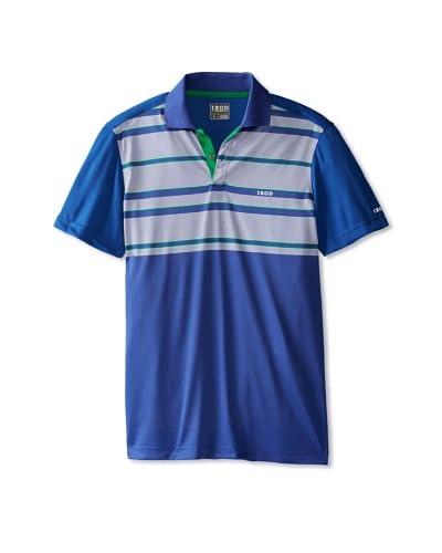 IZOD Men's Short Sleeve Pieced Stripe With Mesh Golf Polo