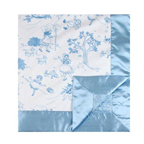 "My Blankee Bedtime Story Minky Blue w/ Minky Dot Blue Baby Blanket, 30"" x 35"""