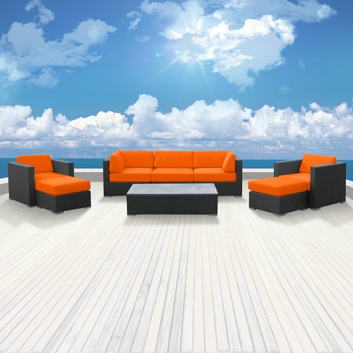 Genuine Luxxella Outdoor Patio Wicker Sofa Sectional Furniture Venus 8pc Gorgeous Couch Set Orange