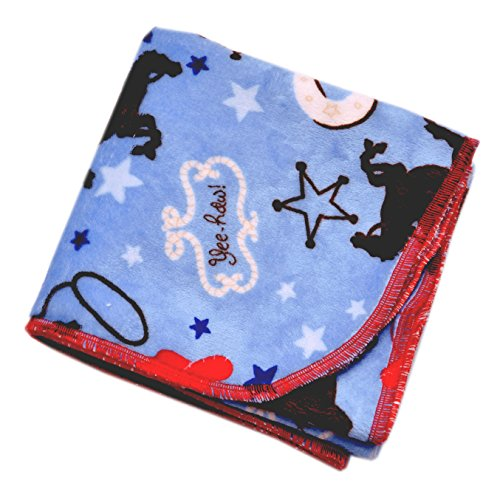 "Blue Buckaroo - 30"" X 30"" - Lil' Whippersnapper Brand Dual-Touch Plush Baby Blanket - Perfect for Swaddling, the Stroller, & Around the House (Cowboy, Horse, Sherif, Blue, Red, Black)"