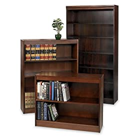 "Ergocraft Wood Veneer Bookcase - 36X12x48"" - Traditional Style With Crown Molding - Walnut"