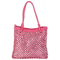 Hailey Jeans Co Womens Basket Weave Sequined Zipper Top Bag