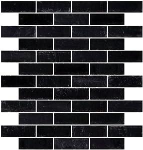 Jablon Mosaics 1x3 Inch Matte Black Glass Subway Tile