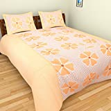 Azaan Décor 120 TC Cotton Double Bedsheet with 2 Pillow Covers - Yellow