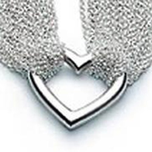 20 Mesh Chain Link Layers Love Open Heart Shaped Toggle Necklace Silver PL
