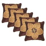 Eccellente Brown Flower Designer Velvet Cushion Cover 16 X 16 Set Of 5