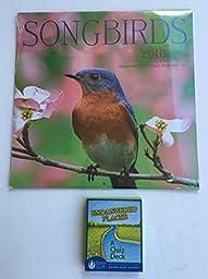 2 Item 2016 Calendar Bundle - 1-2016 Songbirds Calendar and 1-Pomegranate Endangered Species Card Deck
