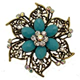 Acosta Brooches Turquoise Bead Crystal Vintage Flower Brooch Antique Gold Tone Gift Boxed