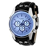 Fossil Men&#8217;s CH2564 Black Leather Strap Blue Glass Silver Analog Dial Chronograph Watch