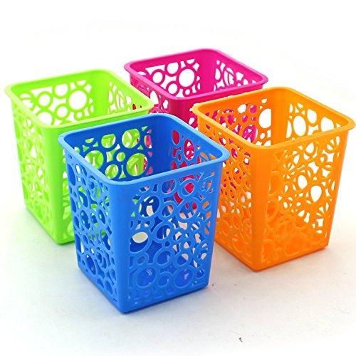 Zicome Set of 4 Desktop Office Storage Organizer - Creative Square Hollow Circle Design Pen Pencil Holder Organizer Basket in 4 Bright Colors