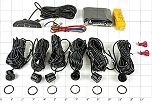 Parking Assist with Digital LED Display, 6 Backup Sensors (2 Front/4 Rear Drill-in Black, special extended wires to about 20 feet) (SD6)
