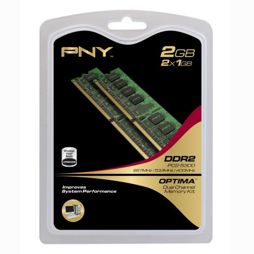 PNY OPTIMA 2GB (2x1GB) Dual Channel Kit DDR2 667 MHz PC2-5300 Desktop DIMM Memory Modules MD2048KD2-667