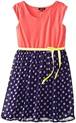 ZUNIE Big Girls' Cap Sleeve Knit To Chiffon Dress